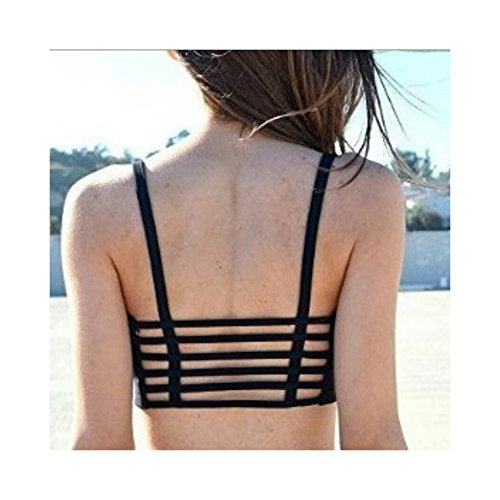 combo of BJAC® 6 straps Black Padded Bralette (removable pads) + Small Women Tank Top Cami T-Shirt Summer Vest Crop Tops White + one pair fancy earring free