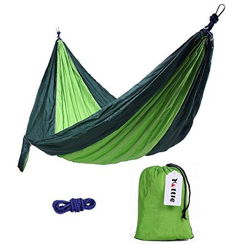 Kottle Camping Hängematte, ultraleichte & tragbaren Fallschirm Nylon Hängematte - beste für Wandern, Reisen, Garten, Strand, kompakte (grün  dunkel grün)