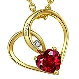 Marenja Collar Mujer de Moda-Colgante Cristal Rojo de Corte Corazón Grabado Te Amo-Joya Chapada en Oro con Cristal