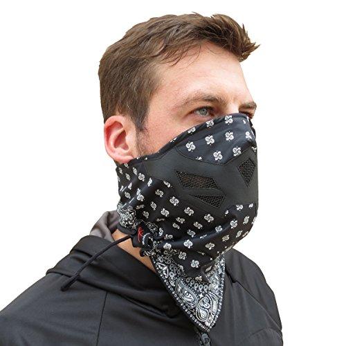 Grace Folly Half Face Gesichtsmaske für kaltes Winterwetter. Diese Halbmaske ist für Snowboard, Ski, Motorrad geeignet. (in vielen Farben lieferbar) (Kopftuch (Schwarz/Weiß))