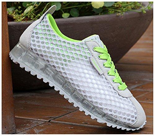 NEWZCERS Femmes Respirant Chaussures de course d'été chaussures de marche Gris