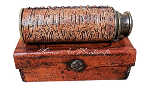 12-brass-ship-captain-telescope-with-leather-carving-bounded-c-3092