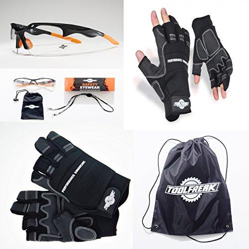 ToolFreak Arbeitshandschuhe und Sicherheitsbrillen Bundle Angebot | Heavy Duty Handschuhe mit 3 Finger Design für besseren Schutz und maximale Kontrolle | ++ Bonus Produkt im Lieferumfang ++ (Carhartt Schwarz Handschuh)