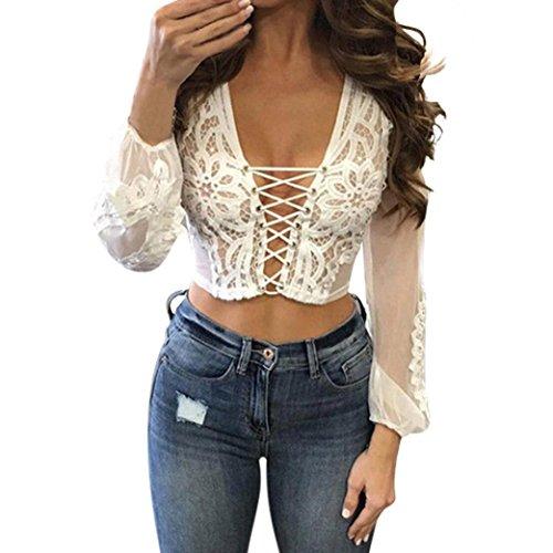 Longra sexy donna scollo a v profonda camicia in pizzo con lacci maglia a maniche lunghe con maglie lingerie sexy camicia protezione solare bikini in pizzo (m, bianco)