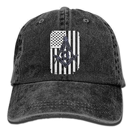 Sdltkhy USA Unisex-Freimaurer-Flaggen-Logo-Weinlese-Jeans-Klassische Baumwollvati-Hut-justierbare einfache Kappe Fashion21