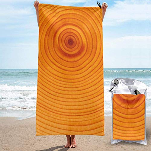 YUYUTE Strandtücher Für Frauen Männer Blanket Wood Tree Ring Texture Bath Sheets Quick Dry Polyester Swimming Large Towel Cover for Yoga Mat Hiking Gym Tent Floor 27.5
