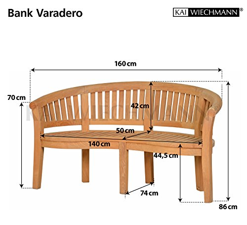 Massive Bananenbank Varadero aus Teakholz, 160x74cm ✓ Wetterfest ✓ Nachhaltiges Plantagenholz ✓ Fertig montierte Gartenbank, Sitzbank aus Holz | Holzbank, Teak-Bank mit Lehne
