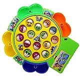 Eléctrica juguetes musicales Pesca Pesca Juego de mesa para Niños Niñas con 15 Peces 4 cañas de pescar, color entrega al azar (peces pequeños)