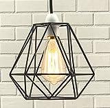 Luxa Lighting Drahtkorb aus Metall Käfig Stil Licht Schatten, Funky Retro Moderne Industrielle Vintage Look, Easy Fit Schwarz