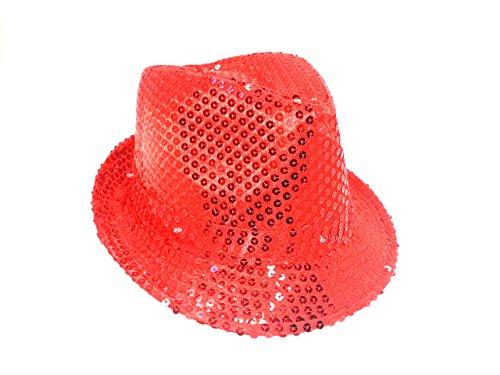Pailletten Hut Glitzer Kappe Sylvester Karneval Party 11 Farben (Rot)