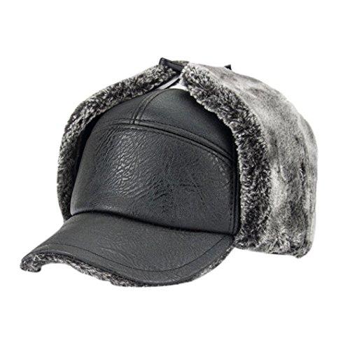 Sansee Männer Wintermütze Solide Winter Outdoor Wolle Warme Dicke Weiche Ohr-Schutzkappen Herren Hüte (Schwarz) (Pima-baumwolle Kurze)