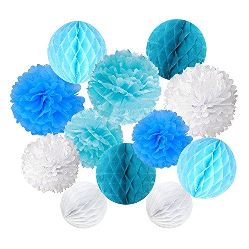 Cocodeko 12 Stück Papier Pompoms und Wabenbälle Dekorpapier Kit für Geburtstag Hochzeit Baby Dusche Parteien Hauptdekorationen - Weiß, Blau und Hellblau