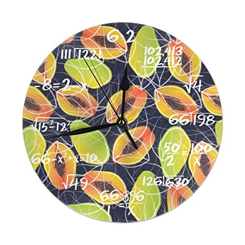 Uosliks Papaya Party Wanduhr Silent Non Ticking, Round Easy to Read for Home Office School Clock -