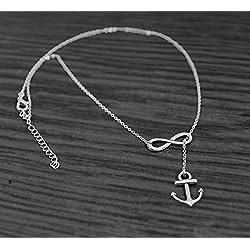 Ancla Y infinity collar bañado en plata, ancla infinity colgante infinity Lariat collar, ancla collar, plata de ley, Spring de novia, joyería, bodas, Nautical
