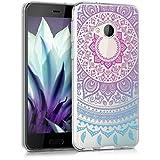 kwmobile Hülle für HTC U Play - TPU Silikon Backcover Case Handy Schutzhülle - Cover klar Indische Sonne Design Blau Pink Transparent