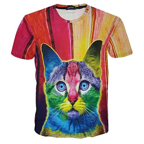 Uideazone Uomo di modo 3D creativo dei graffiti di stampa stile di Hip Hop T-shirt Colorful cat