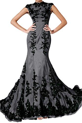 Applicazione punta, Ivydressing donna Elegant Mermaid Chiffon un'ampia vestito da sera lungo Grigio