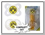 BVB 09 Borussia Dortmund SET, bestehend aus 2 Schnuller 0-6 Monate, 2 Schnuller 6-16 Monate und ein Schnullerband