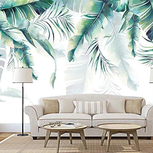 ELEGANT ROOM MURAL DECOR 3D Fototapete - Wandverkleidung Stitching Stil - Dekoration Wandbilder Moderne Wanddeko - nordisch Bananenblatt Grüne Pflanze, 312 * 219cm