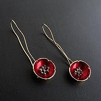 Paar rote Mohn Ohrringe, 925 Sterling Silber handgefertigt baumeln Ohrhänger von Emmanuela