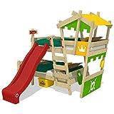 WICKEY Etagenbett CrAzY Castle Doppel-Kinderbett 90x200 Hochbett mit Rutsche, Treppe, Dach und Lattenboden, apfelgrün-gelb + rote Rutsche