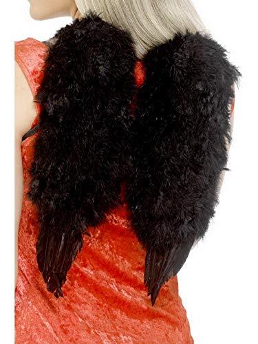 costumebakery - Kostüm Accessoires Zubehör Damen Feder Engels-Flügel, 30x40cm, perfekt für Karneval, Fasching und Fastnacht, Schwarz