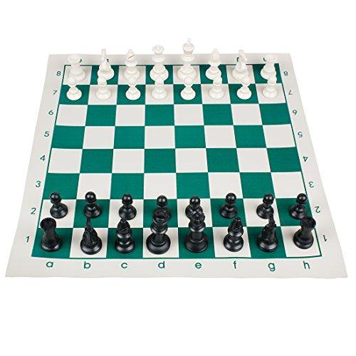 Andux Turnier Schachspiel Set-Schach Brettspiel mit natürlichen Schachfiguren und Roll-up Green Board QPXQ-01 (43cmx43cm) (Set Chess Board)