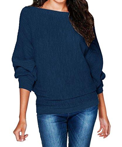 Damen Pullover Langarm Stretch Oversized Schulterfrei Knit Jumper Tunika Sweatshirt Gestrickt Mantel Batwing Bluse Marine S (Top Knit Casual)