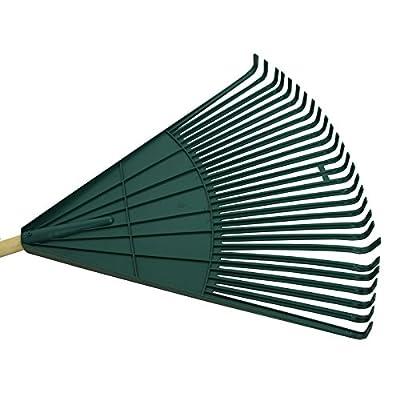 Laubrechen 60cm Kunststoff grün Holzstiel Fächerrechen Laubbesen Fächerbesen