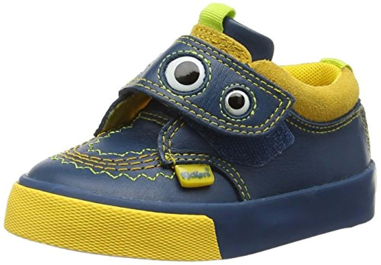 Kickers Unisex Kids' Tovni Monstrap Lthr Im Low-Top Sneakers, Blue (Dark Blue/Yellow), 5 Child UK
