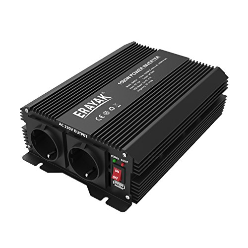 ERAYAK 1000W Wechselrichter TÜV Zertifiziert, DC12V auf AC230V Spanungwandler, Konverter mit 2 EU Steckdose, 2.1A USB Port, Autobatterieclips, Kabel