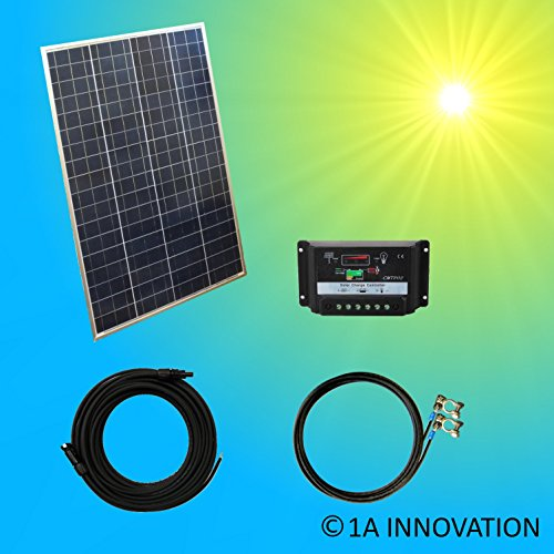 100W Solar Basis Set Solaranlage TÜV 100W Solarmodul Polykrsitallin Gartenhaus NEU Solar Garten Set Camping Wohnmobil Inselsystem mit Laderegler 12V
