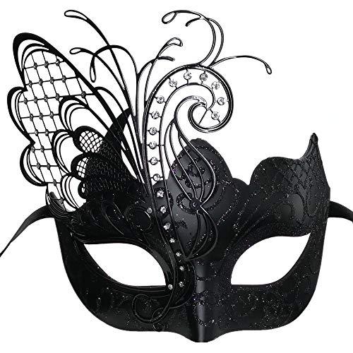 CCUFO [Fliegender Schmetterling] Schwarzes Gesicht [funkelnden Flügel] Laser Cut Metall venezianischen Frauen Maske Maskerade / Party / Ball Prom / Mardi Gras / Hochzeit / Wanddekoration (Für Frauen Schwarze Maskerade-masken)
