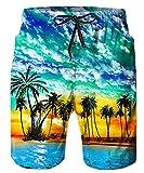 TUONROAD Costume Uomo Mare Motivi Hawaii Palma Stampato 3D Bermuda da Bagno Colorato Pantaloncini Asciugatura Rapida Calzoncini Elasticizzato Costumi Surf Estivi Hawaiano Spiaggia Casual Short - XXL