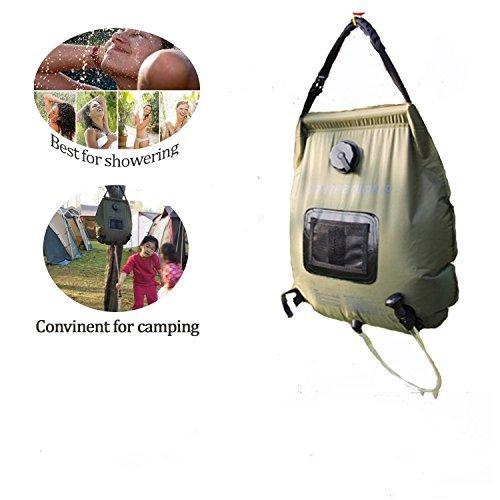 ELLEN Solar Dusche Tasche, Solar beheizt Camping Surf Dusche, Army Grün