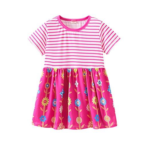 JUTOO Kleinkind Baby Kinder mädchen Streifen Splice Cartoon Blumendruck Prinzessin Kleider Kleidung...