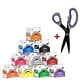 10x NASARA Kinesiologie Tape kinesiologische Tapes + BEXFIELD titaniumbeschichtete Spezial-Tape-Schere * 10 Farben im Set * 5m x 5cm
