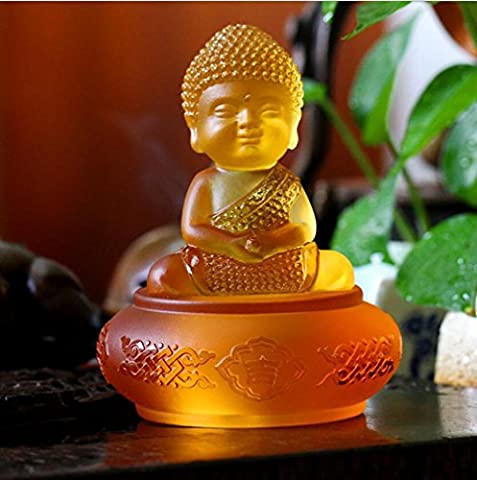 Crafts Auto Accessories Car accessories Glass Buddha statue Decoration Small sand Monk desk gift Decoration Creative get together , amber