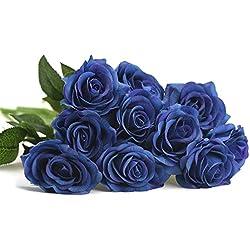 FiveSeasonStuff 10tiges de Real Touch Soie Pétales de Roses Sensation et l'aspect Fresh Roses Bouquet de Fleurs artificielles pour Mariage Fête de Bureau Home Decor Blueberry
