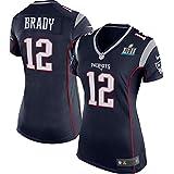 Eckd Aczs Women's New England Patriots Trikot 12 Tom Brady Navy Super Bowl LII Jersey Size S