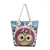 ParaCity Women Beach Tote Canvas Shoulder Bag Anchor Summer Handbag Top Handle Bag Straw Beach Bag Shopping Bag with Cotton Rope Handle (Owl Blue)