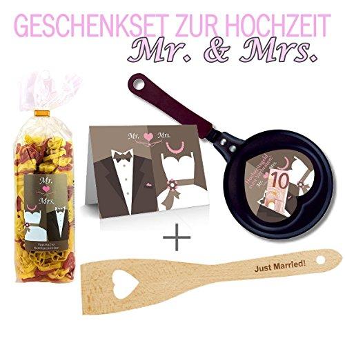 Geschenkset zur Hochzeit 4-teilig mit Pfannenwender zum auswählen/ Hochzeitsgeld zum verbraten / Mr & Mrs / zum Geld verschenken / Geldgeschenk Hochzeit (Just Married)
