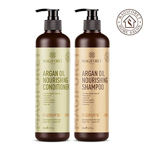 Argan Oil Shampoo and Conditioner Set (2 x 16.9 Oz) - MagiForet Organic Shampoo & Conditioner Sulfate Free - Soft & Smooth, Gentle on Curly & Color Treated Hair,For Men & Women