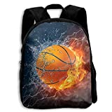 HOJJP Mochila escolar School Season Kids Backpack Bookbag,Child Basketball Fire Water Shoulder Bag