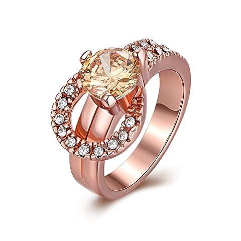 Bodya Rose doré Centre Champagne rond imitation diamant Accent Bande Eternity Bague de mariage 8#