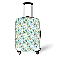 Travel Luggage Cover Suitcase Protector,Ladybugs,Colorful Daisies and Ladybirds Image Good Luck Charm Discover Your True Self Concept,Multi,for Travel,M
