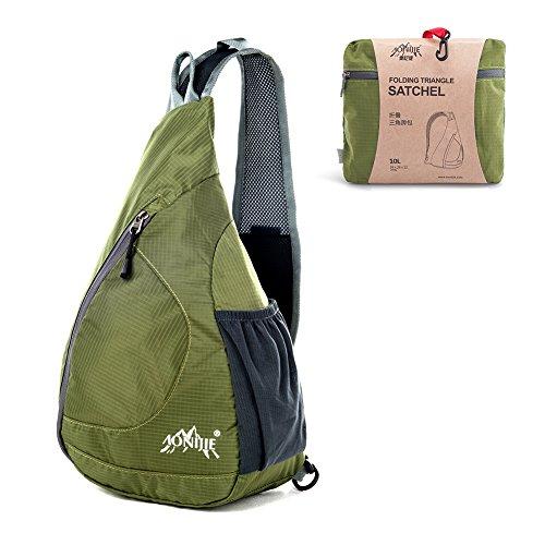 GSTEK Schulter-Rucksack Leichter Faltbarer Schulter-Rucksack Umhängetasche für Den Outdoor-Sport, Radfahren, Wandern, Camping, Schule Armeegrün