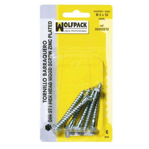Wolfpack 6092050 Pack de 5 tirefonds à bois DIN571 7 x 70 mm