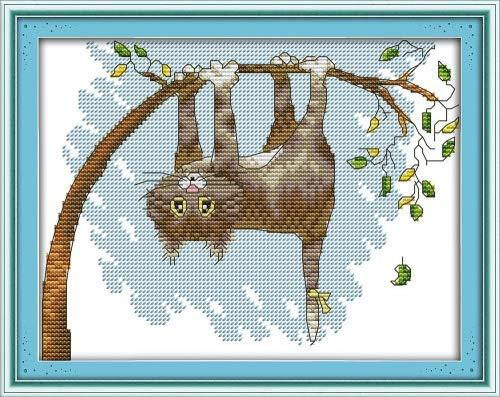captaincrafts Hot Neue Meldungen Kreuzstich Kits Mustern Stickpackung-Die Katze auf Baum, weiß, STAMPED -