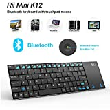 Rii Ultra Slim K12BT Bluetooth Mini Wireless Keyboard with Touch Pad Mouse Stainless Steel Cover